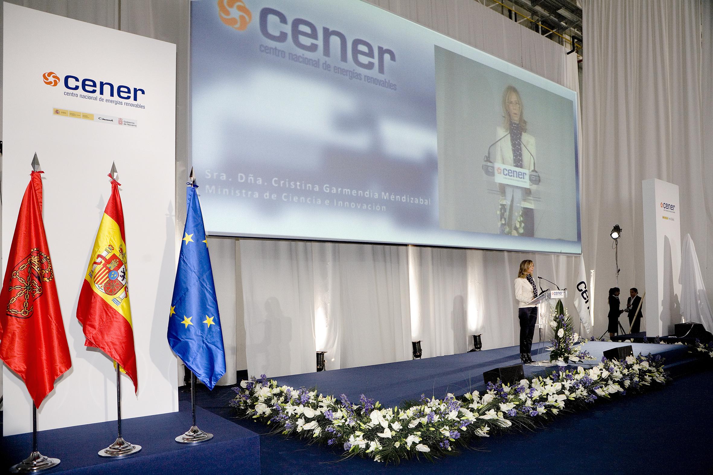 Intervención de la ministra Cristina Garmendia durante el acto de inauguración del LEA (2008).